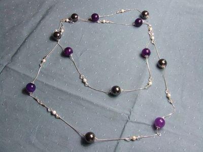 Collana in argento con ematite, ametista e cristalli Swarovski - cod. A14