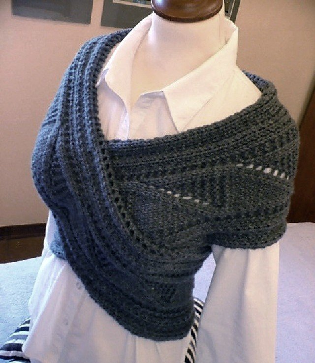 Shoulder -back warmer- scarf-sweater -Charcoal-gray