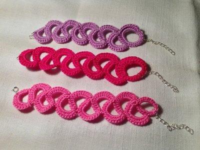 Bracciale braccialetto catena fatto a mano all'uncinetto in cotone di vari colori moda (gioielli / bijoux)