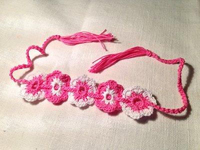 Bracciale braccialetto fiori flowers 2 tonalità (mod. 1) fatto a mano all'uncinetto in cotone di vari colori moda (gioielli / bijoux)