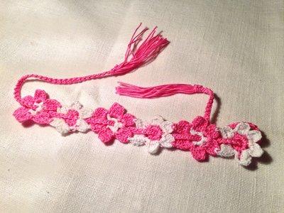 Bracciale braccialetto fiori flowers 2 tonalità (mod. 2) fatto a mano all'uncinetto in cotone di vari colori moda (gioielli / bijoux)