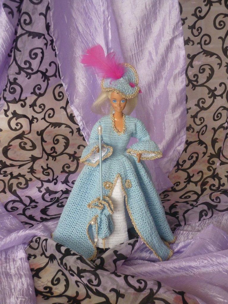Vestito Barbie Azzuro e Bianco