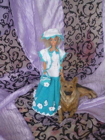 Vestito Barbie Blu Bianco + Borsa e cappello