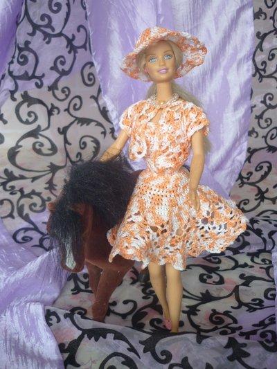 Vestito Barbie Marmato Arancio e Bianco