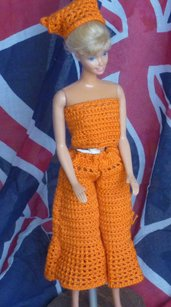 Vestito Barbie Pantalonato arancio + Cappello