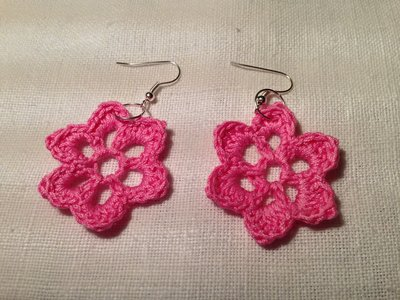 Orecchini fiori flowers fatti a mano all'uncinetto in cotone di vari colori moda (gioielli / bijoux)