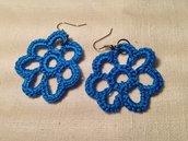 Orecchini margherite fiori flowers fatti a mano all'uncinetto in cotone di vari colori moda (gioielli / bijoux)