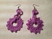 Orecchini sole pendenti fatti a mano all'uncinetto in cotone di vari colori moda (gioielli / bijoux)