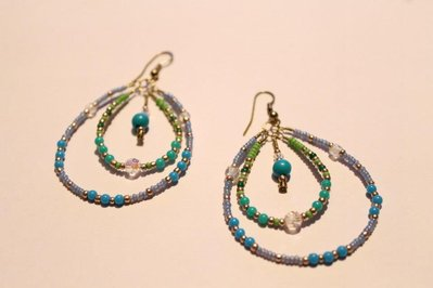 orecchini a goccia azzurro-verde