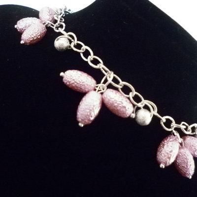 Bracciale catena e perle rosa