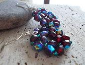 Orecchini con perle sfaccettate rubino
