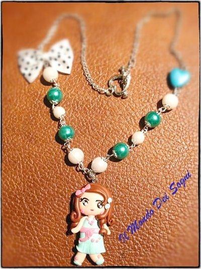 Collana bambolina verde acqua fimo/you clay+SCATOLINA OMAGGIO!IDEA REGALO!