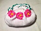 Borsa borsetta bag 3 fiori accessorio moda fatta a mano all'uncinetto in cotone