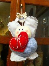 Fiocco nascita :angelo di stoffa   Favour-birth : angel, hand-sew