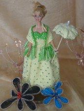 Vestito Barbie Crema e Verde + Parasole