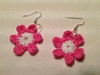 Orecchini fiori fiorellini flowers 2 tonalità fatti a mano all'uncinetto in cotone di vari colori moda (gioielli / bijoux)