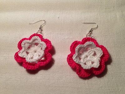Orecchini fiori flowers 2 strati e tonalità fatti a mano all'uncinetto in cotone di vari colori moda (gioielli / bijoux)