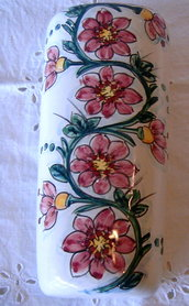 Umidificatore per stufa/termosifone in maiolica dipinto a mano.Decoro Floris