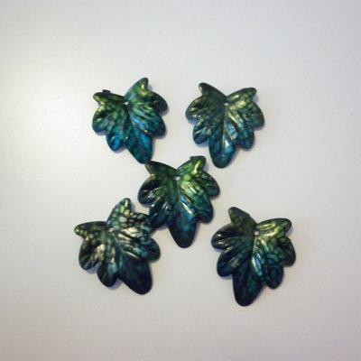 Foglie verdi charms 5 pezzi