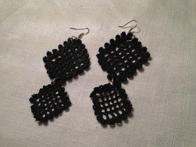 Orecchini rombi doppi 2 pendenti fatti a mano all'uncinetto in cotone di vari colori moda (gioielli / bijoux)