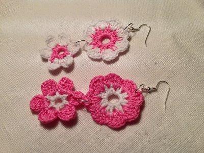 Orecchini fiori flowers doppi pendenti 2 tonalità fatti a mano all'uncinetto in cotone di vari colori moda (gioielli / bijoux)