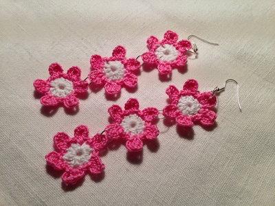 Orecchini fiori fiorellini fowers 2 tonalità tripli 3 pendenti fatti a mano all'uncinetto in cotone di vari colori moda (gioielli / bijoux)