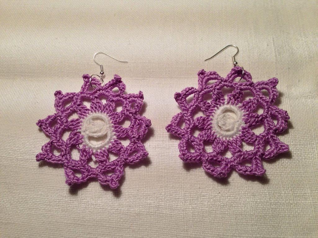 Orecchini sole grande pendenti fatti a mano all'uncinetto in cotone di vari colori moda (gioielli / bijoux)