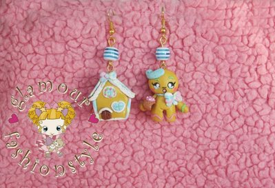 ORECCHINI EARRINGS FIMO GINGERBREAD MAN CASETTA PN ZENZERO
