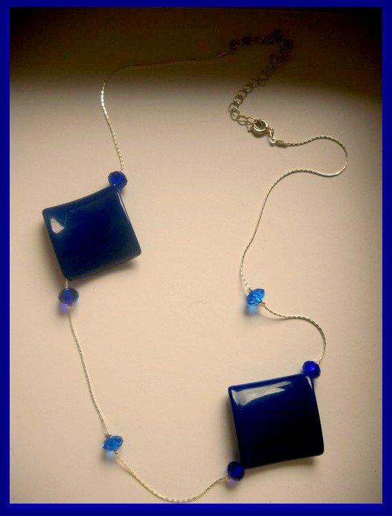 Collana rombi blu