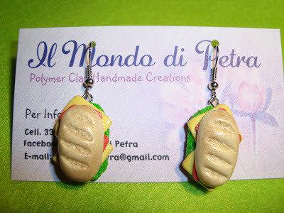 Orecchini Panino Imbottito in Fimo Real Food