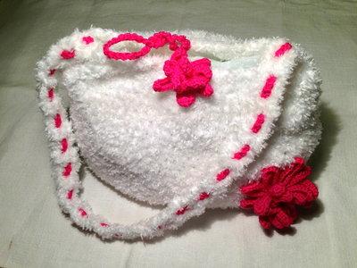 Borsa borsetta bag con fiore accessorio moda fatta a mano all'uncinetto in cotone morbido