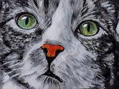 ritratto GATTO gattino soriano europeo acrilico moderno