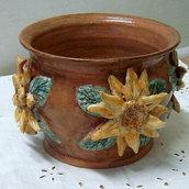 Cache-pot/Portavaso in ceramica.Girasoli