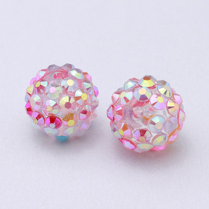2 perle strass iridescenti rosa 12x14mm