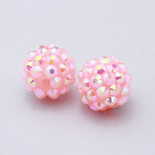 2 perle strass rosa 12x14mm