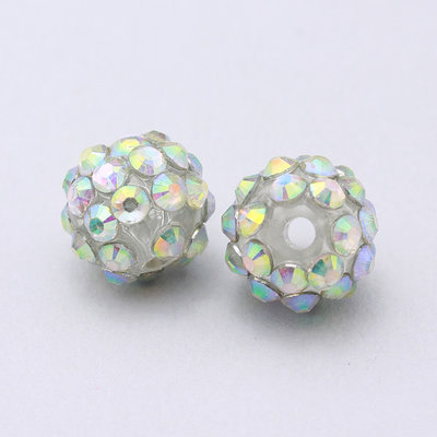 2 perle strass argento 10x12mm