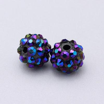 2 perle strass blu iridescenti