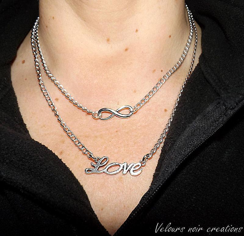collana simbolo Iinfinito e scritta love argento tibetano