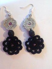 orecchini bicolore lurex argento cotone nero