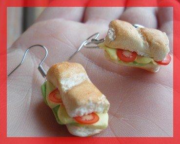 orecchini panino in fimo