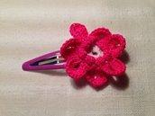 Mollette mollettine forcine per capelli bambina con decorazioni fatte a mano all'uncinetto in cotone (fiore mod. 2)