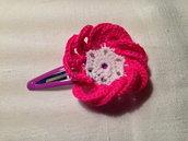 Mollette mollettine forcine per capelli bambina con decorazioni fatte a mano all'uncinetto in cotone (fiore mod. 5)
