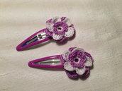 Mollette mollettine forcine per capelli bambina con decorazioni fatte a mano all'uncinetto in cotone (coppia fiori mod. 2)
