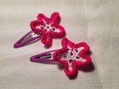 Mollette mollettine forcine per capelli bambina con decorazioni fatte a mano all'uncinetto in cotone (coppia fiori mod. 4)