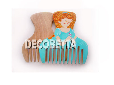 pettine in legno decorato