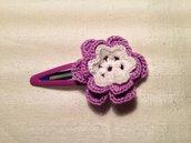 Mollette mollettine forcine per capelli bambina con decorazioni fatte a mano all'uncinetto in cotone (fiore mod. 6)