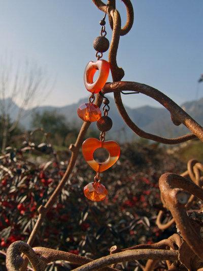 Orecchini rame ed arancio