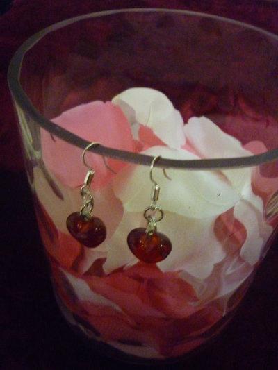 Orecchini a cuore rosso in vetro di Murano