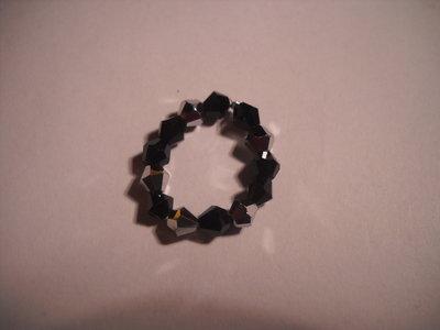 Anello swarovski nero argento