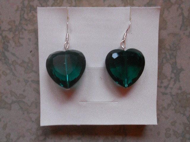 Orecchini con cuori verde smeraldo